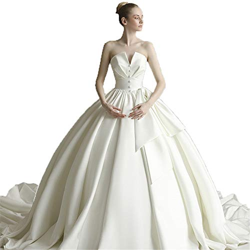 Hochzeitskleid Frauen Liebsten Knopf Kapelle Zug Braut Kleid Brautkleid Elegant Backless Long Tail Satin Brautkleid Für Hochzeit besondere Anlässe (Farbe : Ivory, Größe : M) -