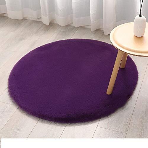 F.Alunsh Runde rutschfeste Nachahmung Kaninchenfell Hause Flauschigen weichen Teppich mit hoher Dichte, Wohnzimmer Sofakissen Boden Schlafzimmer Bettdecke 40 * 40cm / violett