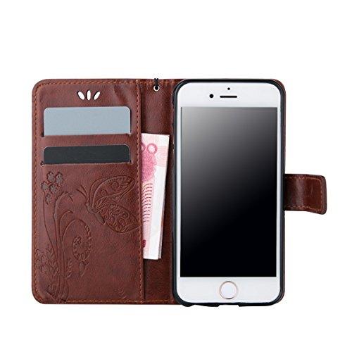 iPhone 6S Plus Coque, iPhone 6 Plus Coque, Lifeturt [ Blanc ] Leather Case Wallet Flip Protective Cover Protector, Etui de Protection PU Cuir Portefeuille Coque Housse Case Cover Coquille Couverture a E02-Marron foncé