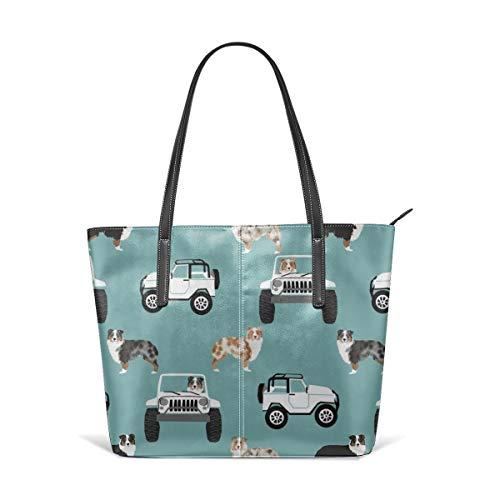 hulili Frauen weiches Leder Tote Umhängetasche Aussie Shepherd Dog, Aussie Dog Adventure - Hellblaue Mode Handtaschen Umhängetasche Geldbörse -