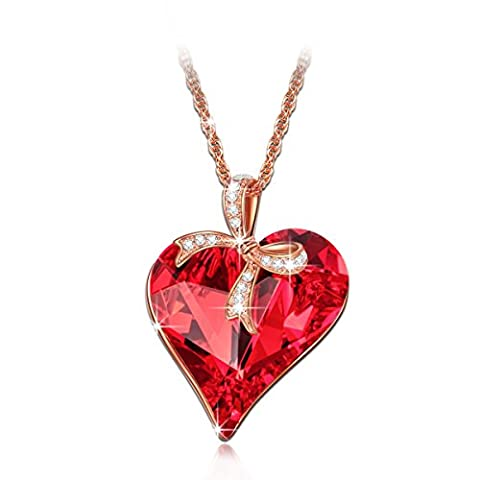 LADY COLOUR Gift of Love Necklace for Women with Red Crystals from Swarovski Heart Pendant Jewellery Birthday gifts Mothers day gifts Christmas gifts Valentines gifts for her gift for mother daughter