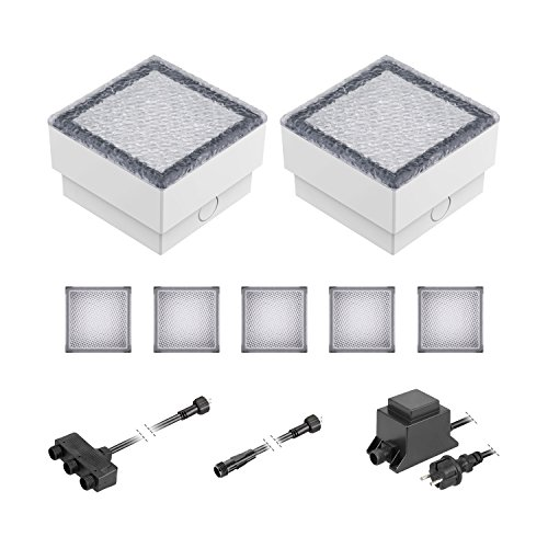 12w Einbauleuchte Gehäuse (ledscom.de LED Pflaster-Stein Gorgon Boden-Einbauleuchte für außen, 10x10cm, 12V, kalt-weiß 7er Set)