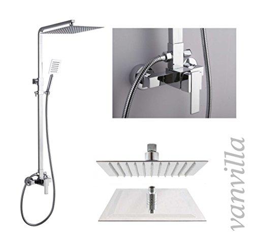 vanvilla Design Dusch-Set Duscharmatur Duschkopf Handbrause 6623/C mit Einhebelmischer und 30x30cm Edelstahlduschkopf poliert