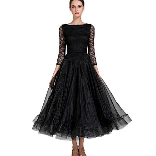(Nationaler Standard Ballsaal Tanzkleider für Frauen Wettbewerb Tanzbekleidung Spitzen-Ärmel Modern Walzer Tango Tanzen Performance Kostüm Große Schaukel, Black, S)