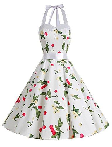 Dressystar Vestidos Corto Cuello Halter Estampado Flores y Lunares Vintage Retro Fiesta 50s 60s Rockabilly Mujer Careza3 L