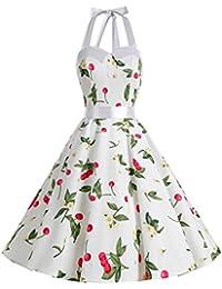 Dressystar Vestidos Corto Cuello Halter Estampado Flores y Lunares Vintage Retro Fiesta 50s 60s Rockabilly Mujer