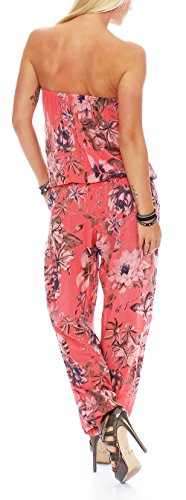 Jumpsuit mit Flower-Print Hosenanzug 8005 Damen One Size Coral