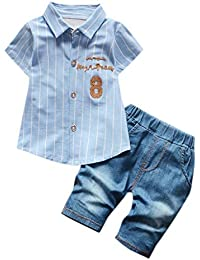 e69568bf9 Sylar Ropa De Niños Bebés Conjunto Moda Camisa De Manga Corta Estampada A  Rayas+Pantalones