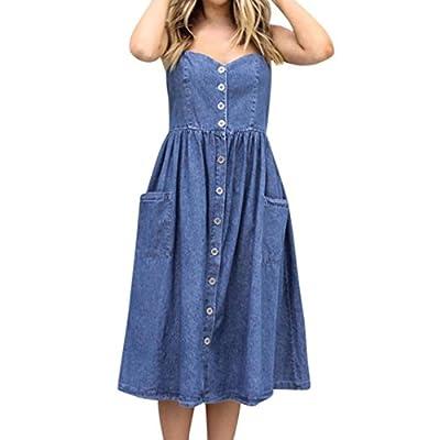 Women's Sleeveless Midi Dress - Saihui Adjustable Spaghetti Strap Button Down Pocket Casual Denim Dresses Size UK 6-14