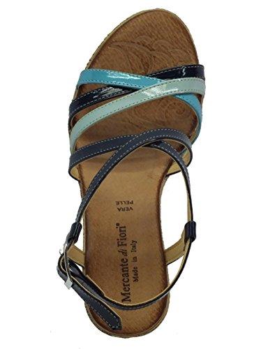 Sandali Mercante di Fiori in vernice multicolore blu zeppa Blu Multi