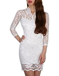 SODACODA Minikleid - Short Lace Dress - Sexy kurzes Spitzen Kleid - 3/4 lange Ärmel und V-Neck - Alle Farben und Größen