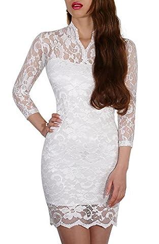 SODACODA Minikleid - Short Lace Dress - Sexy kurzes Spitzen Kleid - 3/4 lange Ärmel und V-Neck (White,