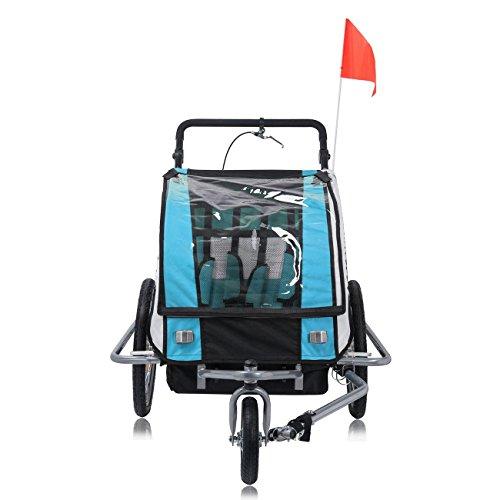 SAMAX Fahrradanhänger Jogger 2in1 360° drehbar Kinderanhänger Kinderfahrradanhänger Transportwagen vollgefederte Hinterachse für 2 Kinder in Blau - Silver Frame - 5