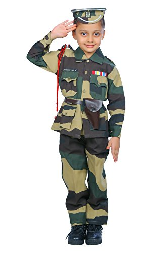 Indiadresswala Unisex Kid's Cotton Border Security Force Fancy Dress Costume, 6-7 Years (Green, BSF-01-P)