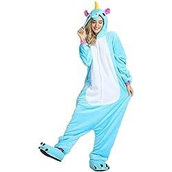 Mystery&Melody Unicornio Pijamas Cosplay Unicorn Disfraces Animales Franela Monos Unisex-adulto ropa de dormir Disfraces de fiesta (M, Azul)