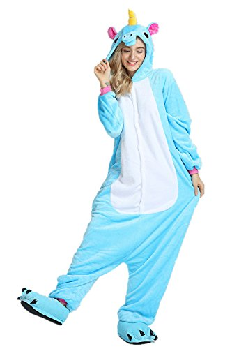 (Mystery&Melody Süßes Einhorn Overalls Jumpsuits Pyjama Fleece Nachtwäsche Schlaflosigkeit Halloween Weihnachten Karneval Party Cosplay Kostüme für Unisex Kinder und Erwachsene (S, Blau))