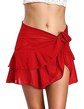 Verano Mujer Moda Lado de la Hoja de Lotus Irregular Mini Falda de Playa Colores Lisos Pareos Cover Up