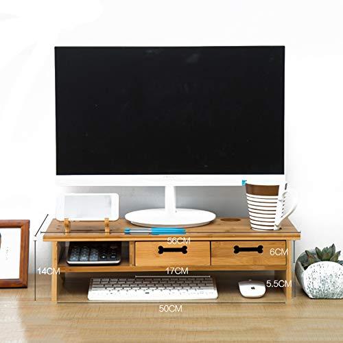 GX&XD Computer Monitorständer Mit schublade,Hals-Schutz Universal Holz Bildschirmständer Büro-rechner Laptop Schreibtisch Handy tv druckergestell Schreibtisch Organizer-B