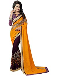 GoSriKi Georgette with Blouse Piece Saree (PARTLY YELLOW-FLEX_ Free Size)