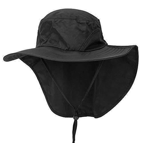 Outdoor Angeln Hut mit Neck Flap Cover breiter Krempe Sun Cap für Männer Frauen Jagd, Wandern, Camping, Bootfahren,Black -
