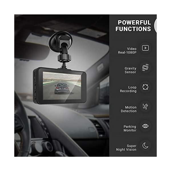 Dash Cam Front and Rear Camera FHD 1080P with Night Vision and SD Card Included, 3 Inch IPS Screen Dash Cam for Cars, 170°Wide Angle Dashboard Camera DVR Motion Detection Parking Monitor G-Sensor HDR 2