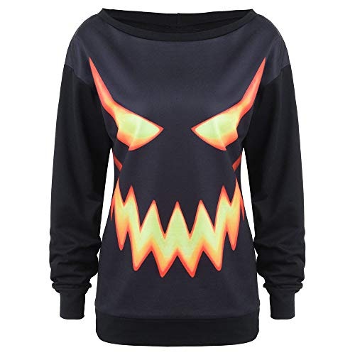 TUDUZ Damen Langarm mit Kapuze Halloween Kostüm Kürbis Drucken Hoodie Sweatshirt Pullover Tops Kapuzenpulli