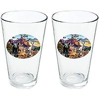 4bf9b21f5f946 Zion National Park Utah UT Animals Cougar Bär Hirsch Waschbär Neuheit 473  ml Trinkglas Sekuritglas 2
