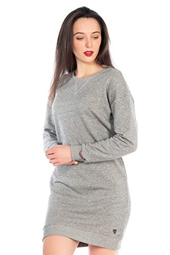 KENNY BROWN Damen Pulli-Kleid Sweater Pullover-Klein langes Sweatkleid Langarm einfarbig modisch Rundhals Minikleid 505 (Grau, L)