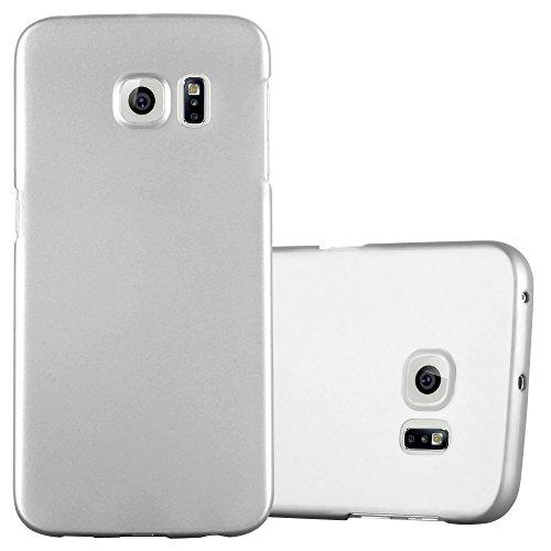 Preisvergleich Produktbild Cadorabo Hülle für Samsung Galaxy S6 Edge - Hülle in Metall Silber – Hardcase Handyhülle im Matt Metal Design - Schutzhülle Bumper Back Case Cover