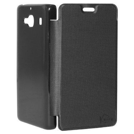 Kaira Brand High Quality flip cover for Xiaomi Redmi 2 (Black) + Screen Guard (Front)