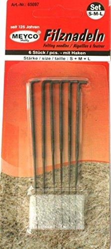 bastelkoerble® Filznadeln mit Haken S-M-L 6 St. Filzwolle