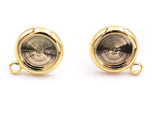 Vintageparts DIY Ohrstecker mit Aufhängung für 8 mm Cabochons mit Echtgold beschichtet 2 Stück zum Schmuck selber basteln