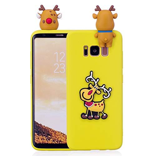 Für Samsung Galaxy S8 Plus Weihnachtsserien-Kasten-Abdeckung, HengJun Weihnachtsdünnes weiches Silikon-Kasten-3D kreativer Art- und Weisekühlen Karikatur-netter stoßsicherer Gummikasten für Samsung Galaxy S8 Plus - Weihnachtselch-Gelb