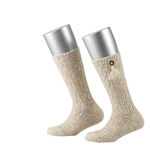 Lusana Jungen Kniestrümpfe Kinder-Socke mit Knopf in Horschhornoptik und Quaste Beige (Beige Meliert 75), 23-26