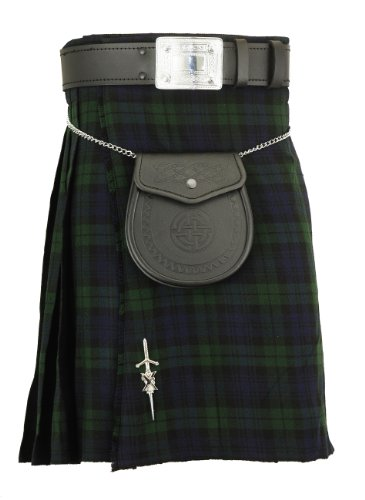 Mens Kilt scozzese BlackWatch tradizionale Highland Tartan Dress Blackwatch 36W
