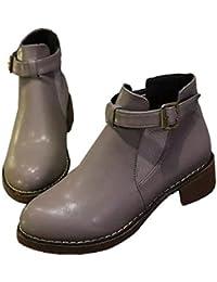 QVRGE Botas De Otoño E Invierno Zapatos Tacones Gruesos Zapatos Martin Botas Botas Botines