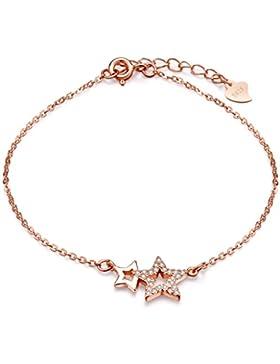 Unendlich U Fashion Doppel Sterne Damen Charm-Armband 925 Sterling Silber Zirkonia Armkette Verstellbar Armkettchen...