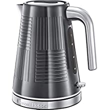 Russell Hobbs 25240 Geo Steel Cordless Electric Kettle - Contemporary Design with Rapid Boil, Textured Stainless Steel, 1.7 Litre