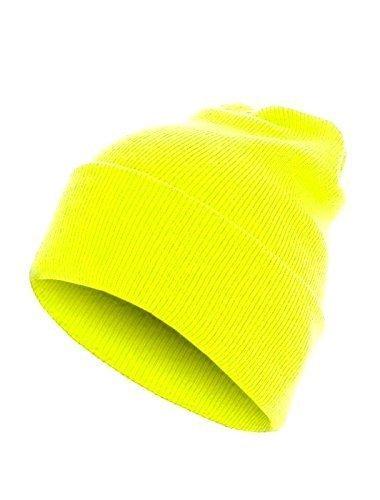 Preisvergleich Produktbild Slouch Long Beanie Strickmütze Fasching Karneval (neon gelb)