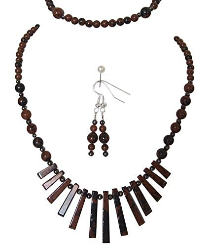 Echte Mahagoni Obsidian Edelstein Halskette, Armband & Ohrhänger Set (Mahagoni Echte)