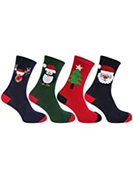 FLOSO - Chaussettes de Noël (4 paires) - Homme (41-46 EUR) (Bleu marine/Rouge/Vert)