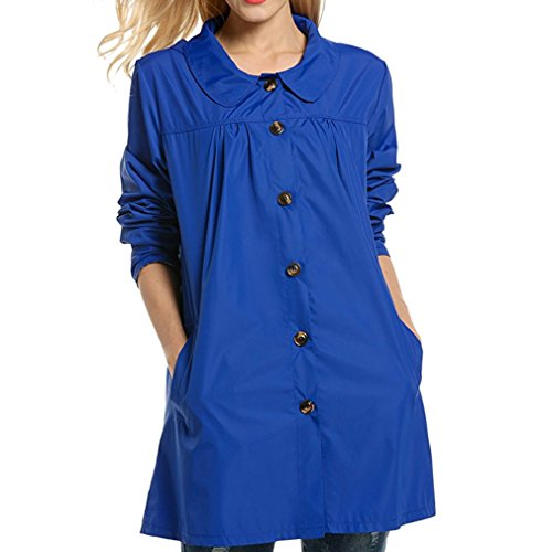 Yying Mujer Coat Chaquetas Moda Ropa con Capucha Impermeable Impermeable Outwear Casual Abrigos Sólidos Azul L