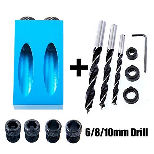 Taschenlochjig-System, robust, All-in-one Aluminium Pocket Hole Jig-Set, 15 Grad Winkel Diagonal-Loch-Locator Werkzeug 14-teiliges Set, Hardware Fixture Tool Holzbearbeitungs-Werkzeug, blau -