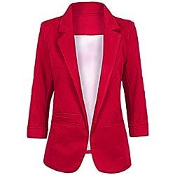 Minetom Femme Élégant Blazer à Manches Longues Slim Fit OL Veste De Costume Basique Ajusté Manteau Cardigan Blouson Jacket Bourgogne FR 44