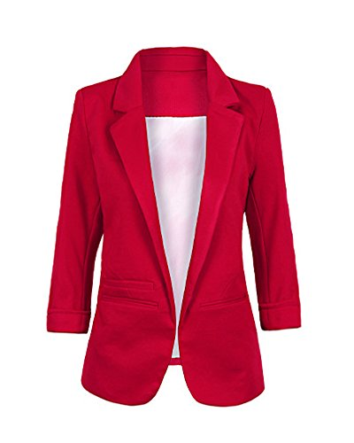 Minetom Damen Elegante 3/4-Arm Blazer Sakko Einfarbig Slim Fit Vorne Offnung Tasche Tailliert Geschäft Büro Kurzjacke Jacke Mantel Weinrot DE 44