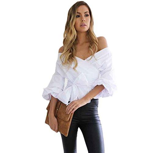 Zarupeng donne scollo a V Camicia popolare Moda Maglie eleganti vita Top benda senza spalline camicetta (M, bianco)