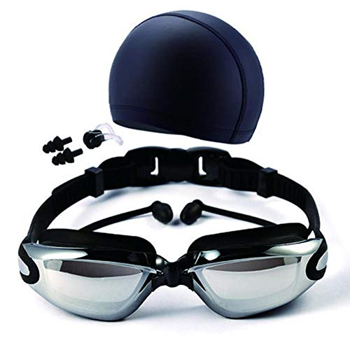Phoneix Swimming Goggles Set, Swim Cap, Nose Clip, Ear Plug for Adult Men Women Anti-Fog HD Mirrored Swimming Accessories Kit Black
