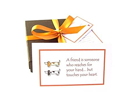 Best Of Friends 52 Handmade Friendship Quote Cards With Mini Chocolate Balls, Poem And Personalized Gift Tag (Brown Dachshund