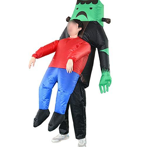 Ss Costume da Esplosione di Vestiti Gonfiabili Costume Verde Fantasma Pagliaccetto Gioco Costume di Halloween Cosplay Abbigliamento Impermeabile Regalo, Adulto