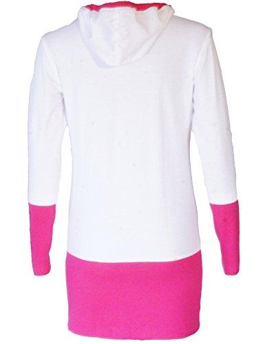 Sweat Damen. Kapuzenpullover Djaneo Piranha Baumwolle. Sweatjacke in 5 farben. weiß und rosa